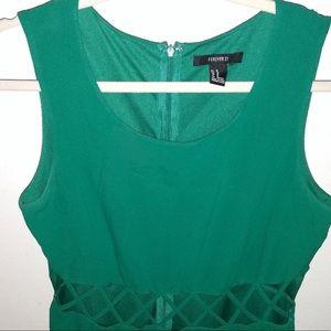 Emerald Green Lattice Peekaboo Cutout Party Dress